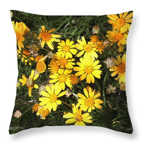 Yellow Flowers Throw Pillow featuring the photograph Yellow Flowers by Tom Janca