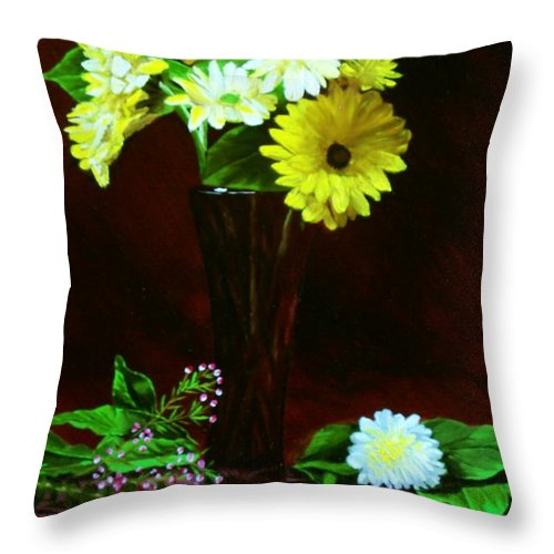 Gerbera Daisy Throw Pillow featuring the painting Yellow Gerbera by Paul Tremlin