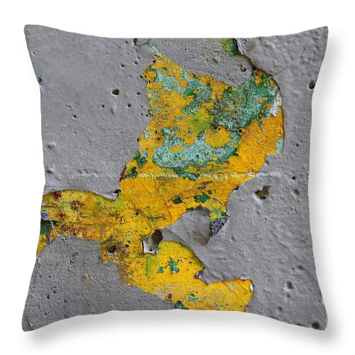 Graffiti Throw Pillow featuring the photograph Yellow Graffiti by Kenny Glotfelty