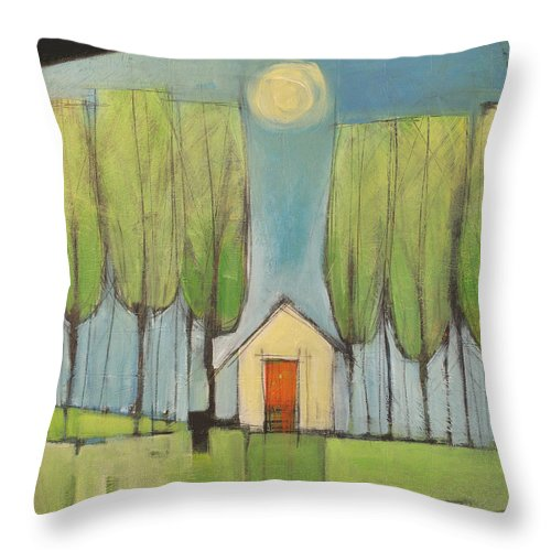 House Throw Pillow featuring the painting Yellow House In Woods by Tim Nyberg