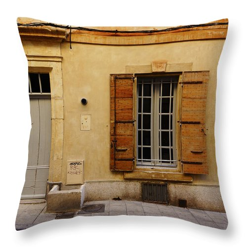 Arles Throw Pillow featuring the photograph Yellow House No 32 Arles France Dsc01779 by Greg Kluempers
