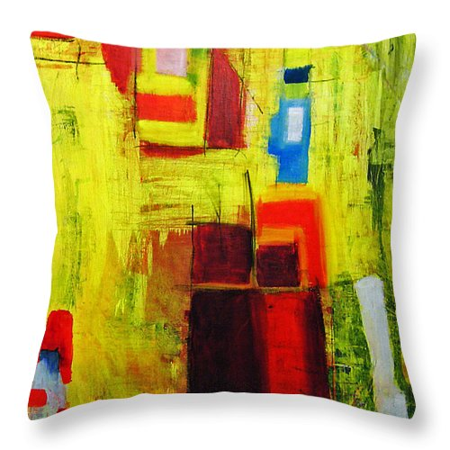 Abstract Painting Throw Pillow featuring the painting Yellow by Jeff Barrett