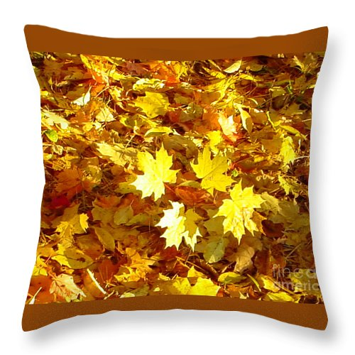 Yellow Throw Pillow featuring the photograph Yellow Leaves by Nancie Johnson