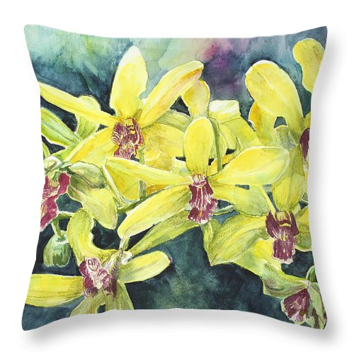 Yellow Throw Pillow featuring the painting Yellow Orchids by Janis Lee Colon