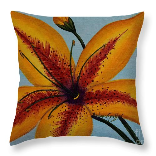 Barbara Griffin Throw Pillow featuring the painting Yellow Oriental Lily by Barbara Griffin