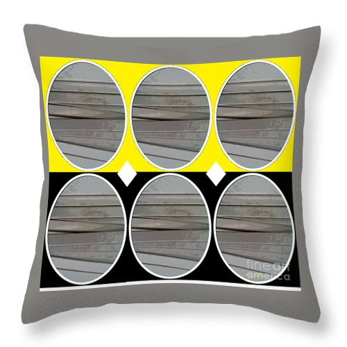 Abstract Throw Pillow featuring the mixed media Yellow Oval by Ann Calvo