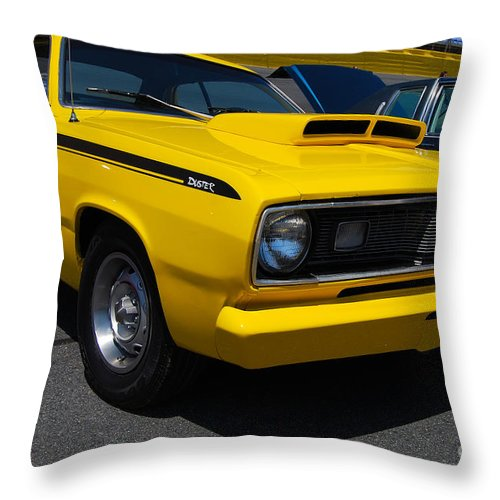 American Muscle Car Throw Pillow featuring the photograph Yellow Plymouth Duster by Mark Spearman