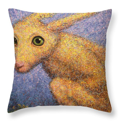Yellow Rabbit Throw Pillow featuring the painting Yellow Rabbit by James W Johnson