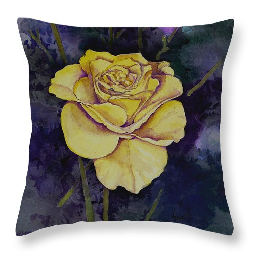 Rose Throw Pillow featuring the painting Yellow Rose by Sam Sidders