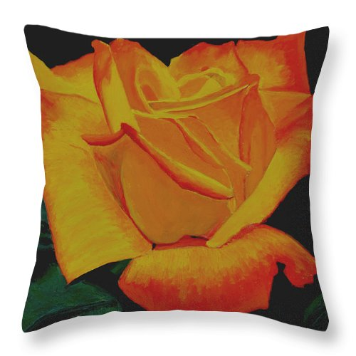 Yellow Rose Throw Pillow featuring the painting Yellow Rose by Stan Hamilton