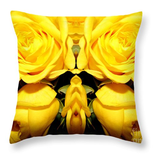 Roses Throw Pillow featuring the photograph Yellow Roses Mirrored Effect by Rose Santuci-Sofranko