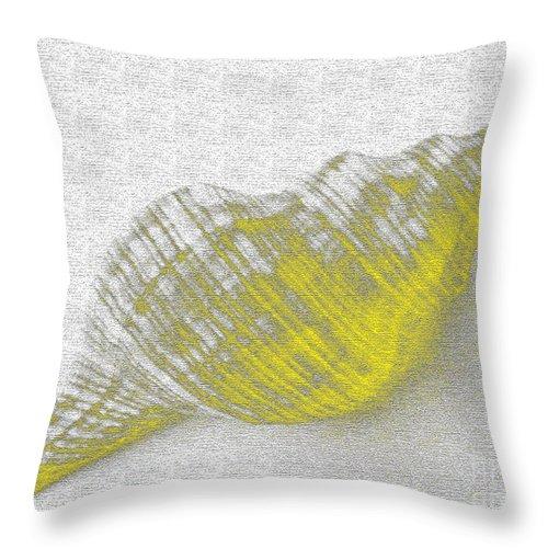 Yellow Throw Pillow featuring the digital art Yellow Seashell by Carol Lynch