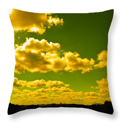 Yellow Throw Pillow featuring the photograph Yellow Skies by Nick Kirby