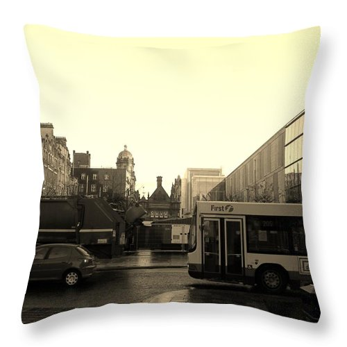 Yellow Throw Pillow featuring the photograph Yellow Skies Over A Glasgow Street by James Potts
