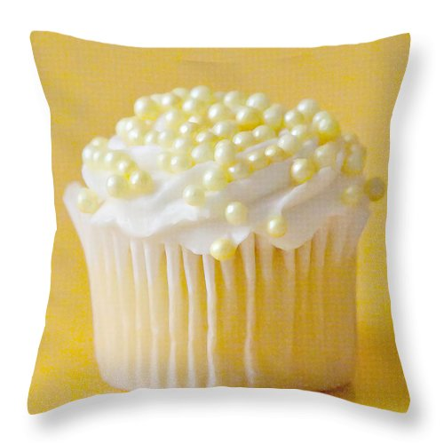 Cupcake Throw Pillow featuring the photograph Yellow Sprinkles by Art Block Collections