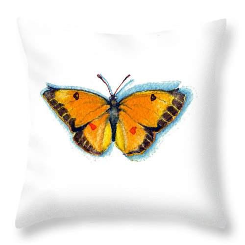 Moths Throw Pillow featuring the painting Yellow Sulphur by Katherine Miller