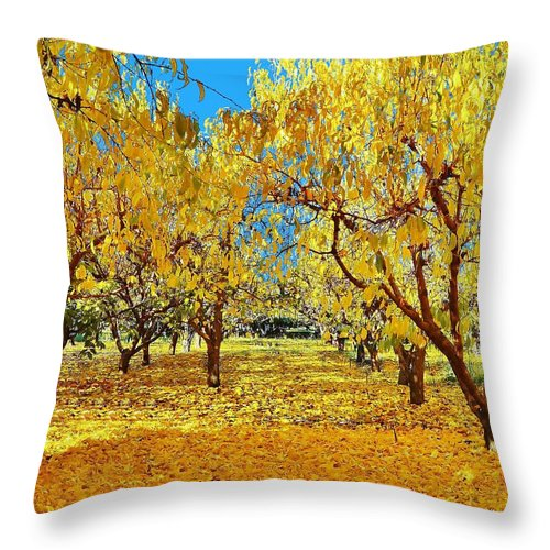 Yellow Leaves Throw Pillow featuring the photograph Yellow Trees by Marilyn MacCrakin