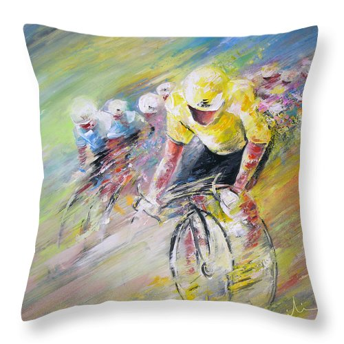 Sports Throw Pillow featuring the painting Yellow Triumph by Miki De Goodaboom