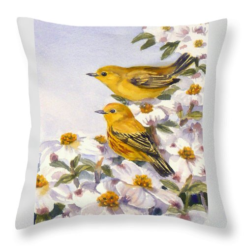 Birds Throw Pillow featuring the painting Yellow Warblers by Janet Zeh