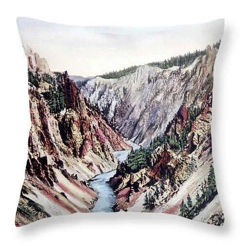 History Throw Pillow featuring the photograph Yellowstone Canyon Yellowstone Np by NPS Photo Frank J Haynes