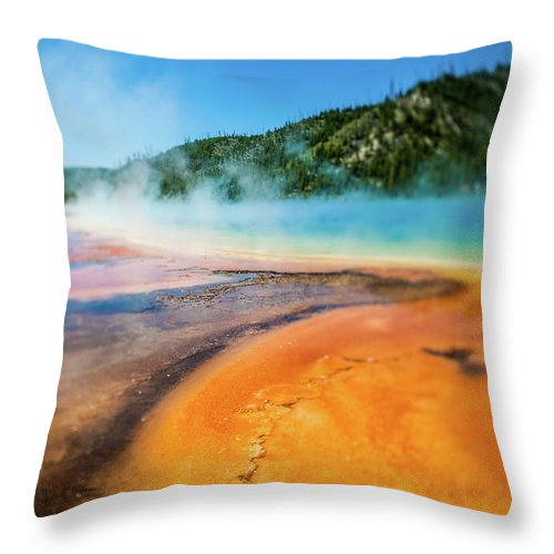 Scenics Throw Pillow featuring the photograph Yellowstone by Eddy Joaquim