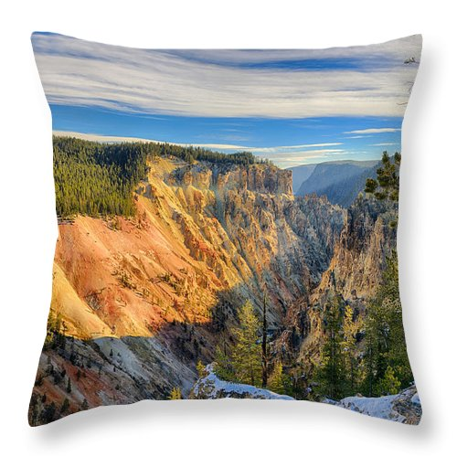 Yellowstone Throw Pillow featuring the photograph Yellowstone Grand Canyon East View by Greg Norrell