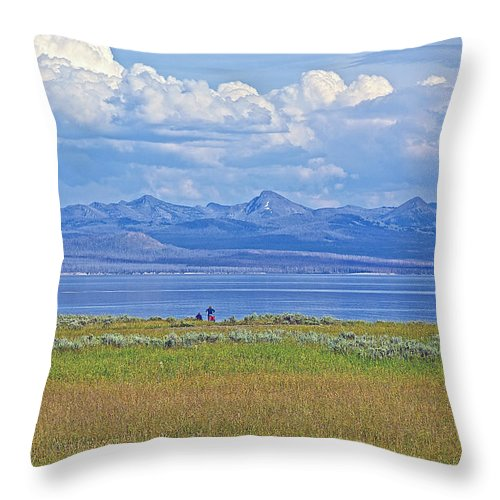 Yellowstone Lake In Yellowstone National Park Throw Pillow featuring the photograph Yellowstone Lake In Yellowstone National Park-wyoming- by Ruth Hager
