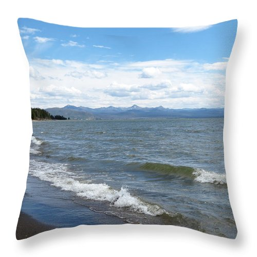 Yellowstone National Park Throw Pillow featuring the photograph Yellowstone Lake by Laurel Powell