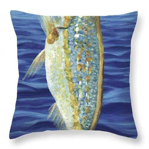 Snapper Throw Pillow featuring the painting Yellowtail On The Menu by Danielle Perry