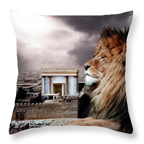 Lions Throw Pillow featuring the digital art Yeshua In The Outer Court by Bill Stephens