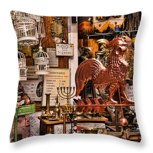 Malcesine Throw Pillow featuring the photograph Yesterdays Treasures by Brenda Kean