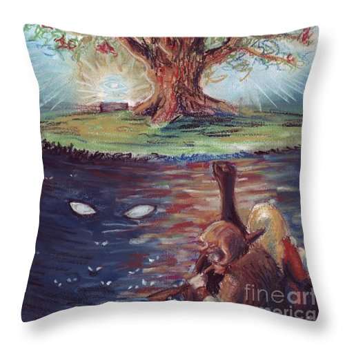 Yggdrasil Throw Pillow featuring the pastel Yggdrasil - The Last Refuge by Samantha Geernaert