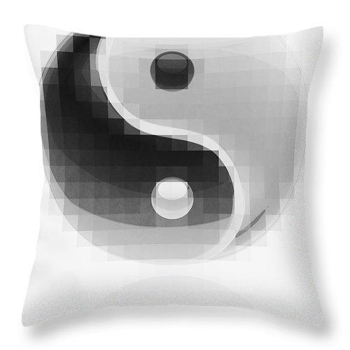 Yin Throw Pillow featuring the digital art Yin Yang Mosaic by Daniel Hagerman