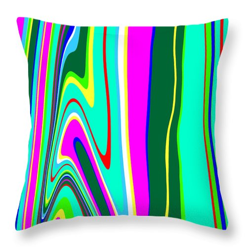 Abstract Throw Pillow featuring the painting Yipes Stripes II Variation C2014 by Paul Ashby