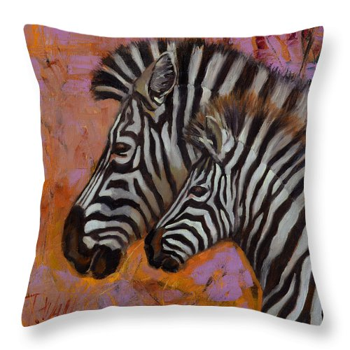 Wild Animal Throw Pillow featuring the painting Yipes Stripes by Pattie Wall