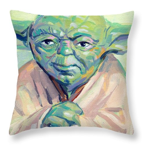 Yoda Throw Pillow featuring the painting Yoda by Kimberly Santini