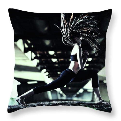 Warrior 2 Throw Pillow featuring the photograph Yoga Virabhadrasana by Myshkovsky