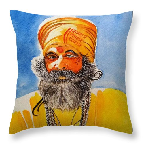 India Throw Pillow featuring the painting Yogi by Sarabjit Kaur