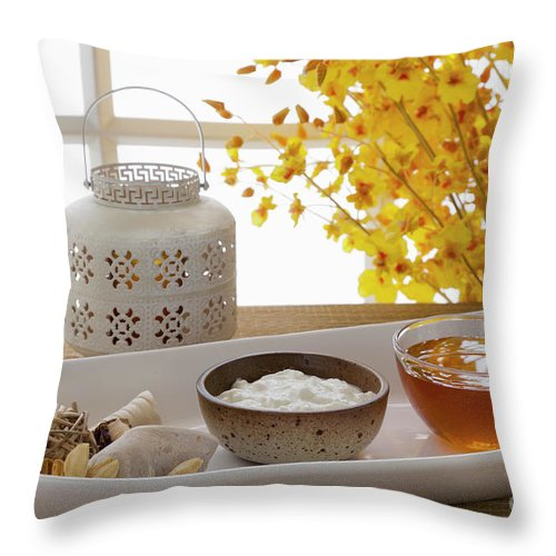 Spa Throw Pillow featuring the photograph Yogurt And Honey On A Tray In A Spa by Juan Silva