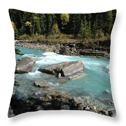 River Throw Pillow featuring the photograph Yoho River by Bob and Nancy Kendrick