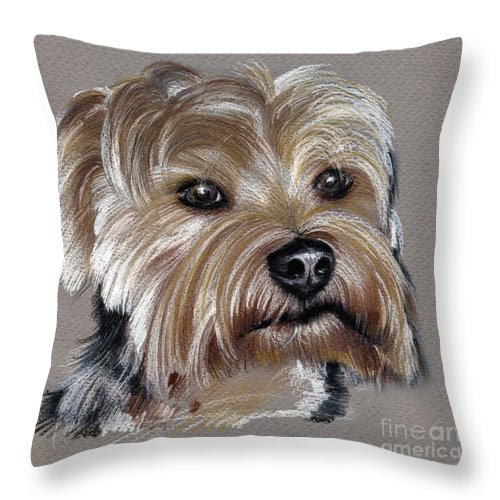 Yorkshire Throw Pillow featuring the drawing Yorkshire Terrier- Drawing by Daliana Pacuraru