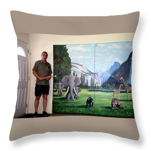Mural Throw Pillow featuring the painting Yosemite Dreams Mural on Doors by Frank Wilson