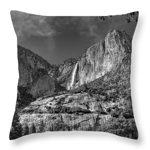 Black And White Throw Pillow featuring the photograph Yosemite Falls - Bw by James Anderson