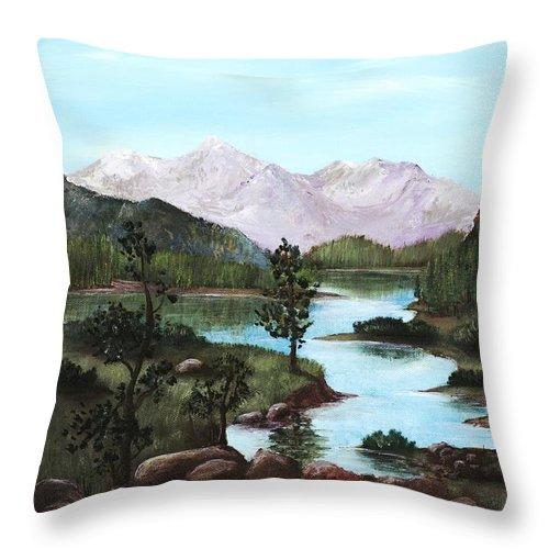 Interior Throw Pillow featuring the painting Yosemite Meadow by Anastasiya Malakhova