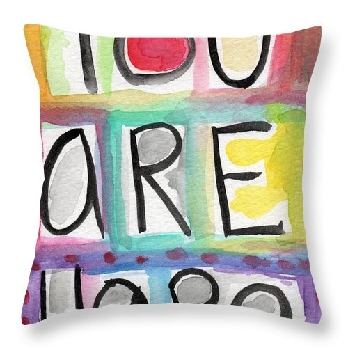 Large Word Painting Throw Pillow featuring the painting You Are Here by Linda Woods