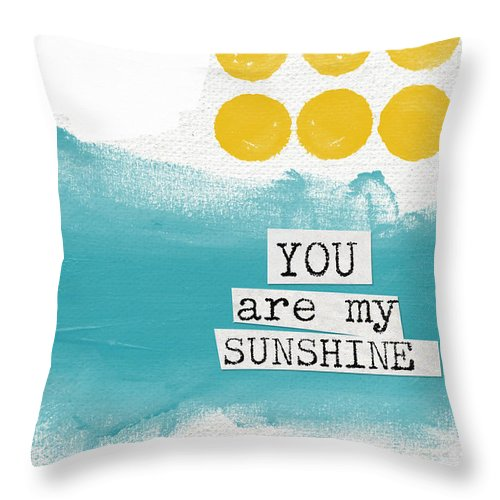 Love Throw Pillow featuring the painting You Are My Sunshine- abstract mod art by Linda Woods