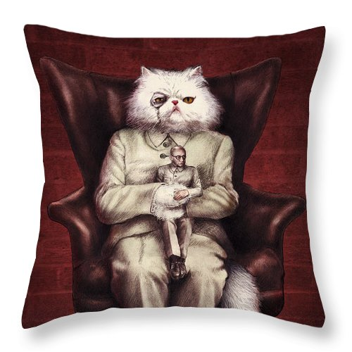 007 Throw Pillow featuring the drawing You Only Live Nine Times by Eric Fan