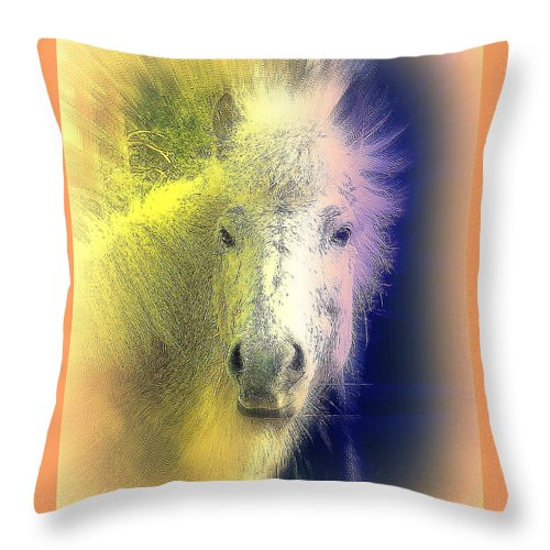 Horse Throw Pillow featuring the photograph how do I know if you are the one who will make me feel happy and safe by Hilde Widerberg