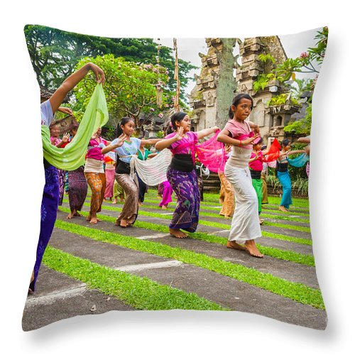 Architecture Throw Pillow featuring the photograph Young Bali Dancers - Indonesia by Luciano Mortula