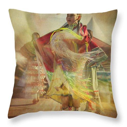 Young Throw Pillow featuring the digital art Young Canadian Aboriginal Dancer by Eduardo Tavares